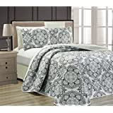 """Fancy Collection 3 pc Bedspread Bed Cover Modern Reversible White Grey Black New #Linda Grey King/California King Over Size 118"""" x 95"""""""