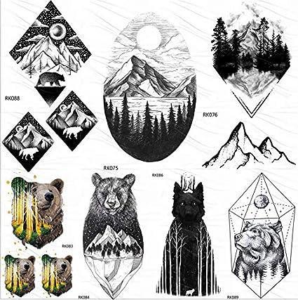 yyyDL Geométrico Bosque de la montaña Tatuajes temporales Etiqueta ...