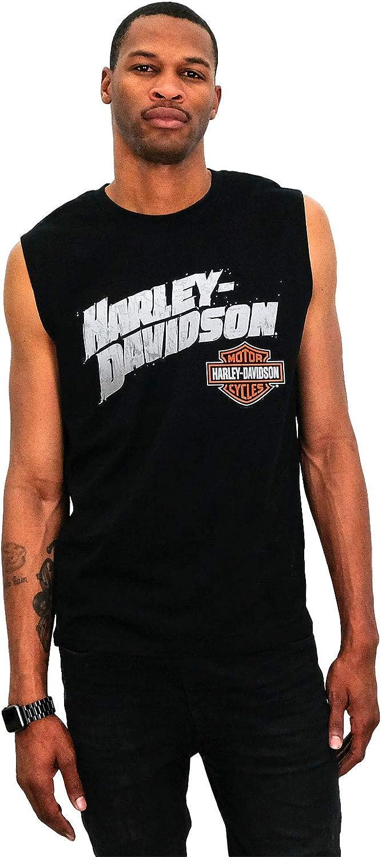 Harley-Davidson Mens Open Night B/&S Black Sleeveless Muscle T-Shirt