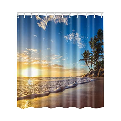 Artown Sunset Beach Shower Curtain Set Tropics Palm Trees Ocean Sunrise Sunny Holiday Seascape Watercolor