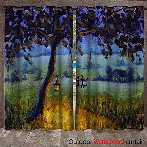 Door/Gazebo Curtain Oil painting Evening rustic landscape a lantern hanging on a tree a guy with a girl in love ride on a swing Green meadows a lighted meadow a ()