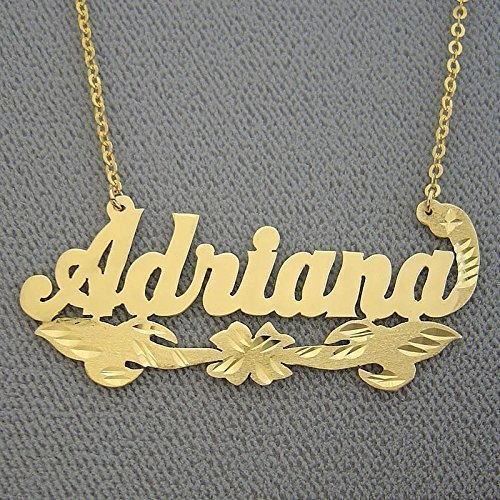 Personalized Name Necklace Solid 10k Gold Diamond Cut Fancy Design ()