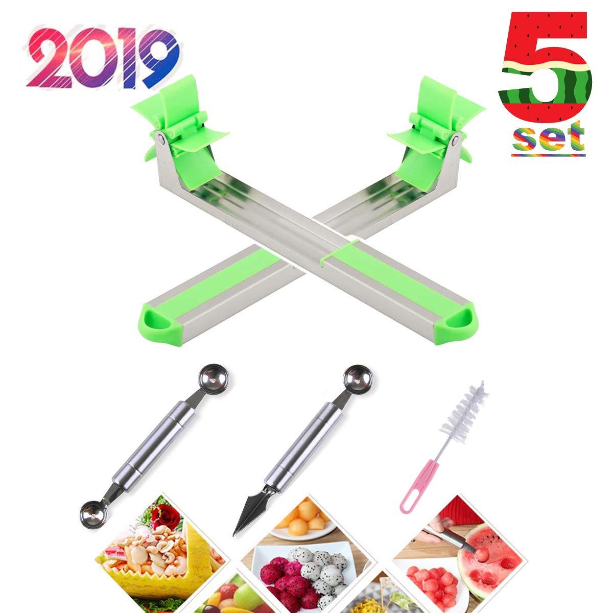 Windmill Watermelon Slicer Cutter,Stainless Steel Watermelon Cubes Slicer,Melon Baller Fruit Carving Knife Corer Fruit Tools Kitchen Gadgets by Freeaurora