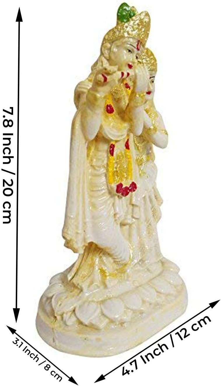 1 Piece Small Cream EFINITO Polyresin Lord Radha Krishna Statue Murlidhar//Krishn Kanhiya Idol