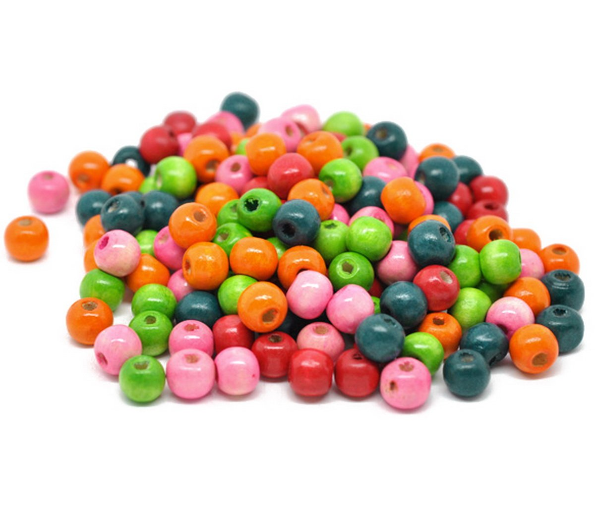 Housweety 100 Mixed Painted Drum Wood Spacer Beads 17x16mm style 1-100pcs