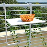 Cheap Orange Casual Patio Balcony Railing Hanging Table Adjustable Outdoor Folding Serving Deck (White)