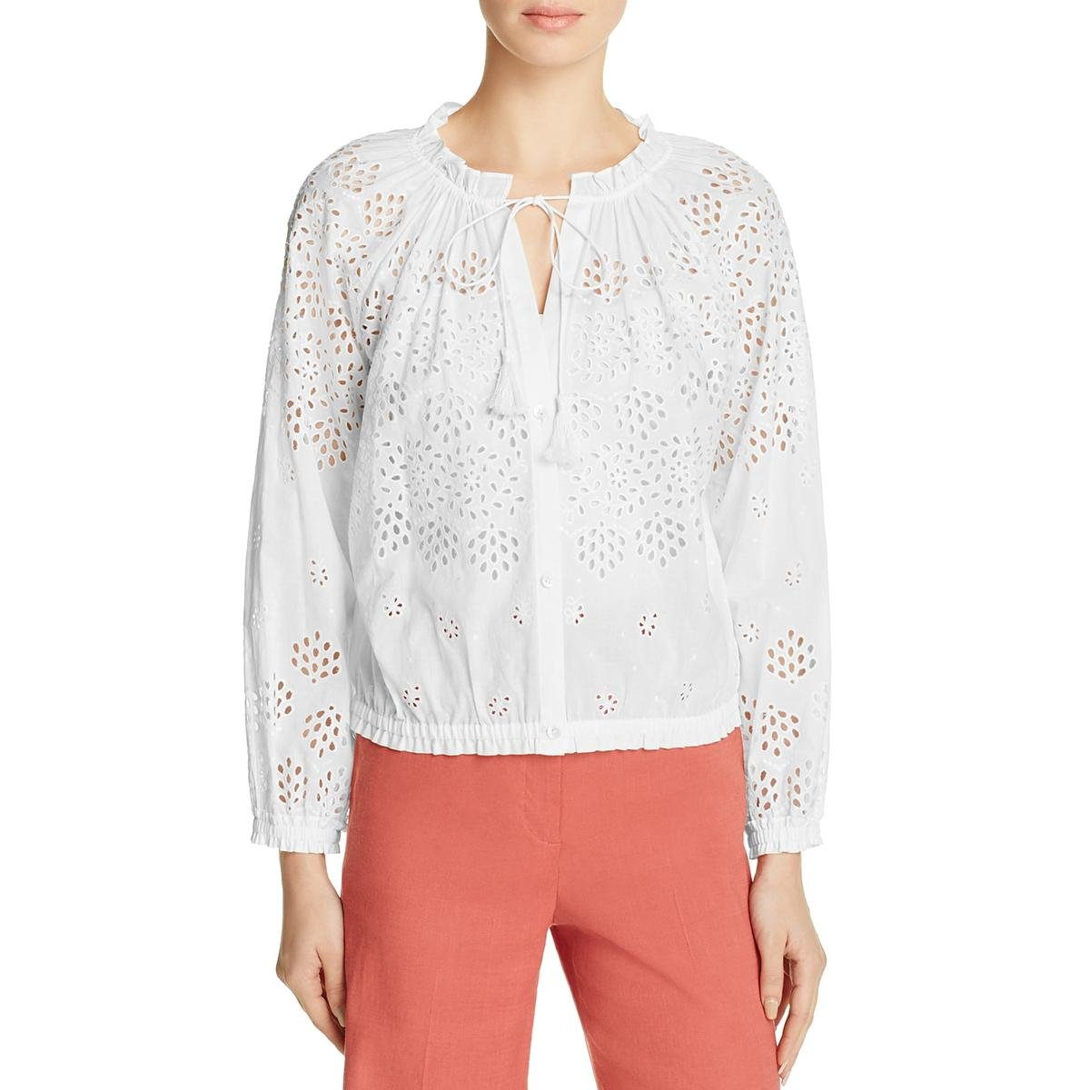 Theory Womens Maryana Eyelet Button Down Casual Top White S