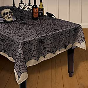 """NKIPORU 54""""x 72""""Halloween Spider Web Tablecloth Decoration Cobweb Lace Tablecloth Festive Party Supplies for Halloween Parties, Décor, Dinner & Spooky Meals, Black"""
