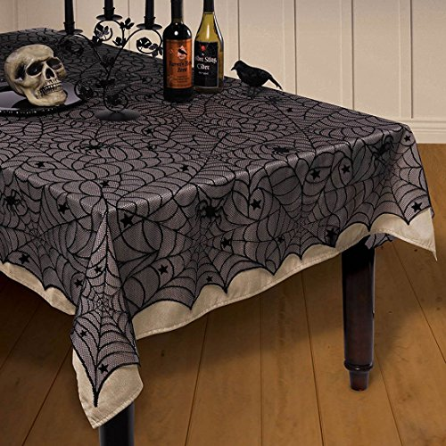"54""x 72""Halloween Spider Web Tablecloth Decoration Cobweb Lace Tablecloth Festive Party Supplies for Halloween Parties, Décor, Dinner & Spooky Meals, Black (Halloween Party Meal)"