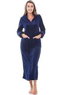 07863cbfd75f Alexander Del Rossa Womens Slim Fit Zip-Front Fleece Robe, Zipper Bathrobe