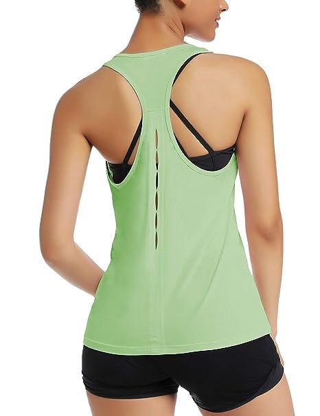 Amazon.com: Aeuui Camisas de yoga para mujer, espalda ...