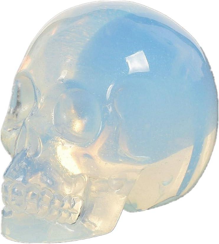 AITELEI Figura de calavera tallada a mano con piedra preciosa de 5 cm, piedra de cristal curativa, diseño de calavera reiki, opal, ópalo