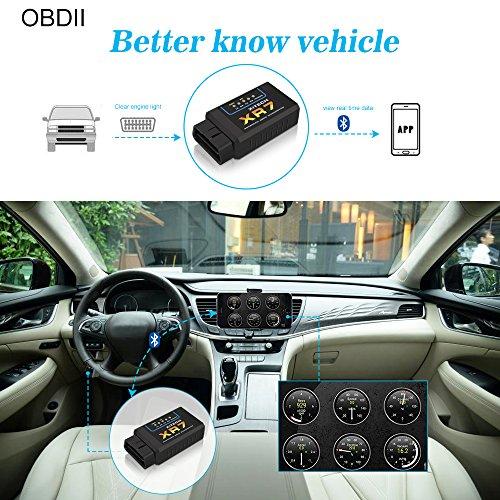 OBD2 Bluetooth Adapter Diagnoseger/ät QHUI OBDII Diagnose Scanner ELM327 Interface Universal Auto-Scanner Code Leser Motorkontrollleuchte Diagnoseger/ät f/ür Android Windows Smartphone Tablet