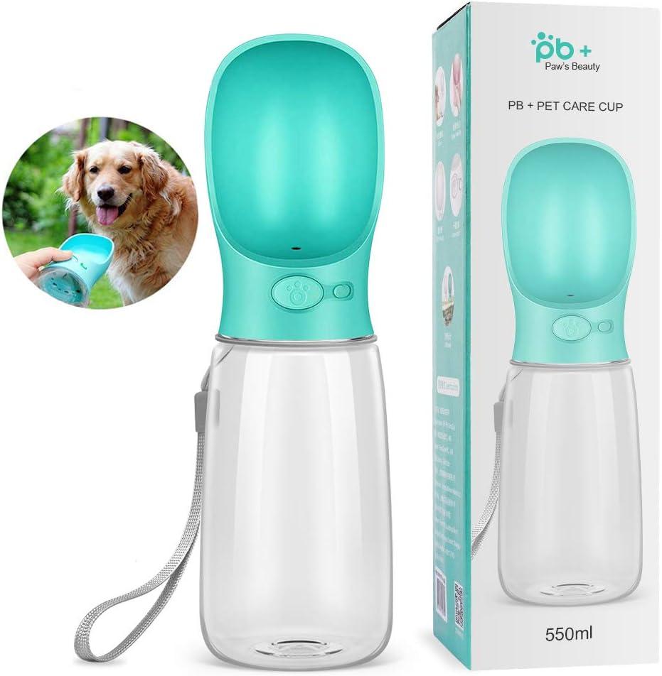 swonuk Botella de Agua para Perro, 550ml Antibacteriano Botella Portátil de Agua Potable para Perros y Gatos al Aire Libre, Libre de BPA, (Azul)