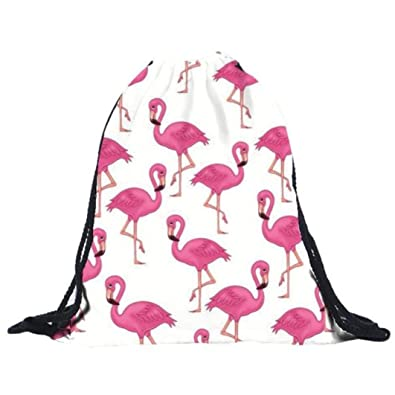 4044ee1b4b7f LILICAT Flamingo Drawstring Bag Sports Gym Sack School PE Bag Backpack With  Zipped Pockets for Adults & Children Swimming Shoes Basketball School Party  Bag ...