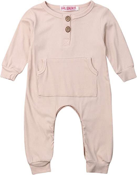 doublebabyjoy Baby 1 Piece Button Down Long Sleeve Coveralls Toddler Solid Color Knitted Romper Jumpsuit Cotton Outfits