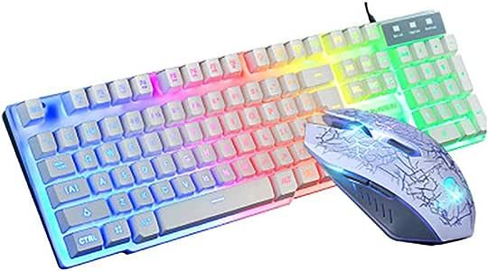 WYP Juego de Teclado y Mouse T6 Rainbow Backlight USB ergonomics para computadora portátil Gamer Mouse y Kit de Teclado Mouse Pad,White: Amazon.es: Deportes y aire libre