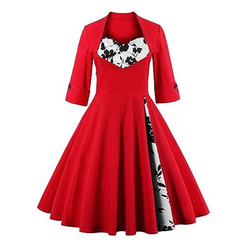 KILOLONE 1950 Vintage Dress Plus Size Rockabilly Pinup Cocktail Swing Dresses