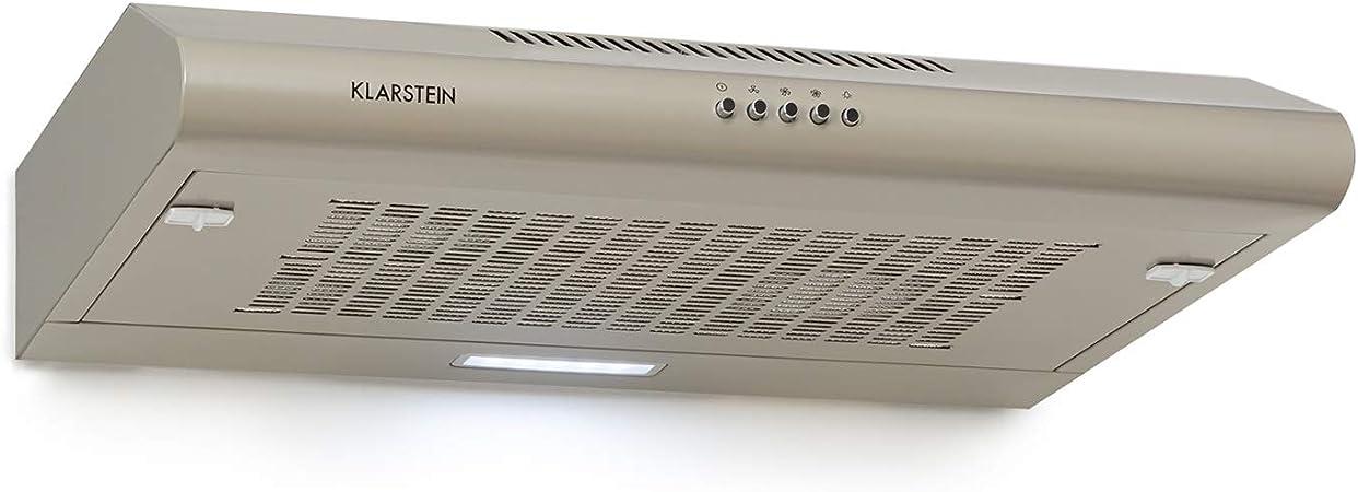 KLARSTEIN Capannina - Campana extractora encastrable, Potencia extracción 166m³/h, 60cm, 3 potencias, EEC C, Panel de Control, Filtro Grasa de Aluminio, Iluminación LED, Acero Inoxidable, Plateado: Amazon.es: Hogar