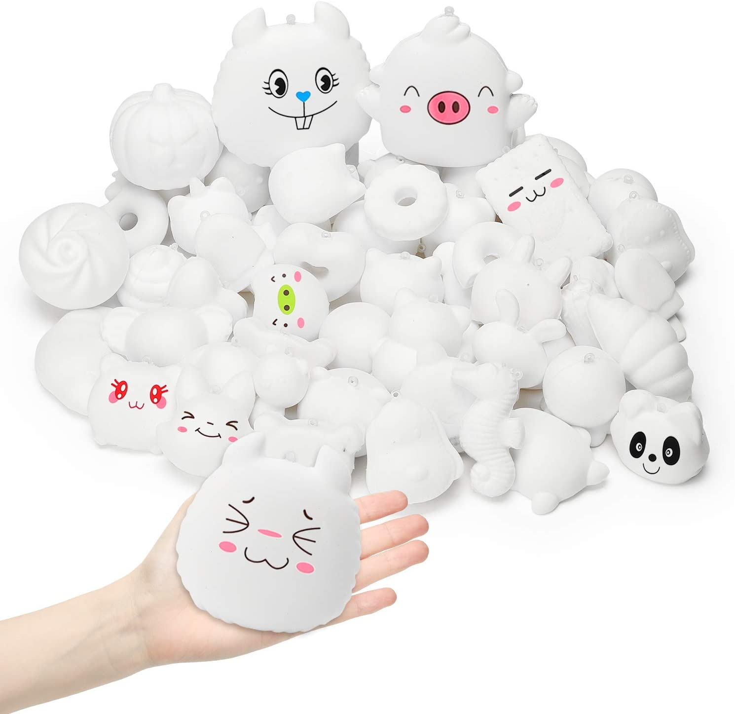 WATINC Random 60Pcs DIY Squishies Bulk, Slow Rising Stress Relief Kawaii Cream Scented Toy, Lovely Novelty Mini Animal Food Toys for Squeezing, Keychains Phone Straps Random Stickers