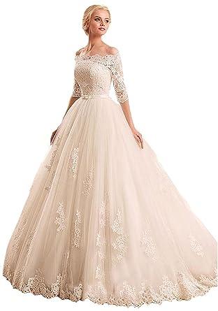 Mingxuerong Damen Prinzessin Hochzeitskleider mit Spitzen Lange ...