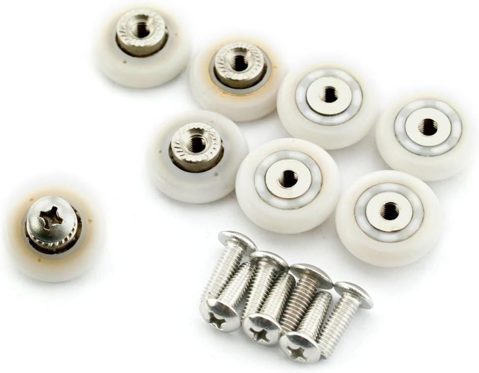 AKORD 8 Juegos de Ruedas de Acero Inoxidable de 19 mm para Puerta de Ducha, Blanco, 19mm x 5mm, 8: Amazon.es: Hogar