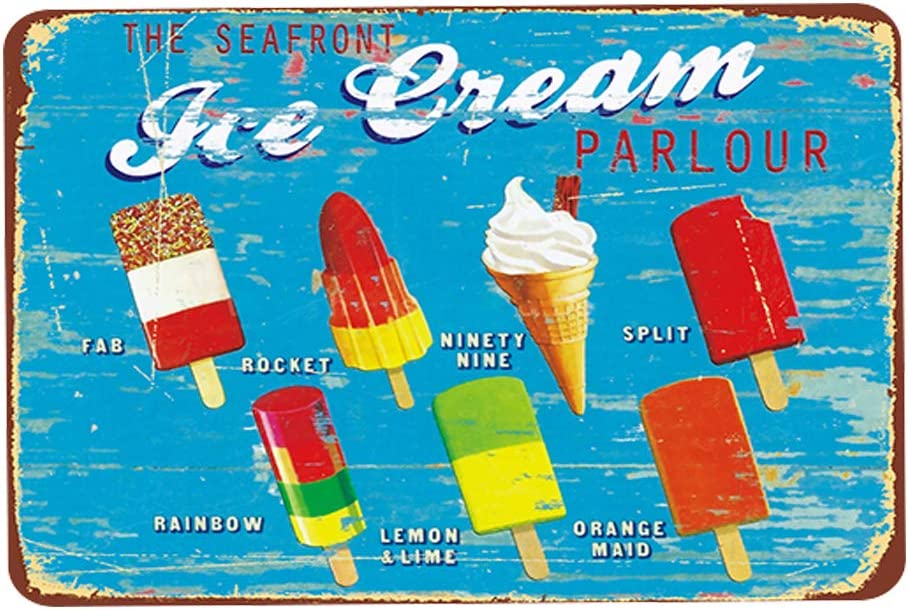 Ice Cream Fab Rocket Popsicle Ice Lolly Vintage Restaurant Decor Sign Home Kitchen Sign Restaurant Food Wall Decorations Vintage Metal Signs Cafe Food Sign Retro Metal Sign Size: 11.8 x 7.8 Inches