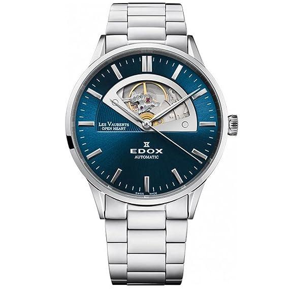 Edox Les Vauberts 85014 - Reloj analógico automático para hombre, 43 mm, 3 m, diseño de corazón abierto: Amazon.es: Relojes