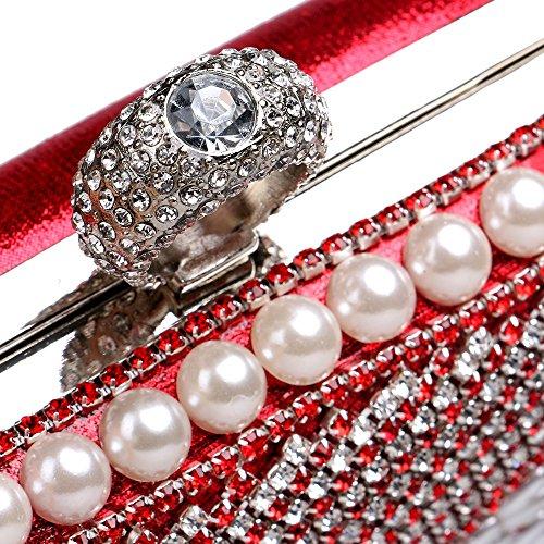 Hebilla Clásico Noche De De Rojo Tutú Banquete Bolso De Gama De Anillo De Embrague Diamantes Alta Stdq6w