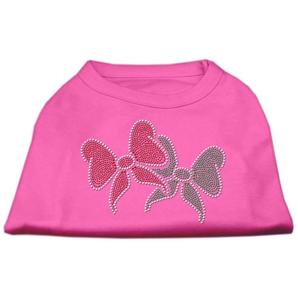 Mirage Pet Products 10-Inch Christmas Bows Rhinestone Print Shirt for Pets, Small, Bright Pink