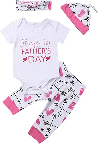 My 1st Father/'s Day Newborn Baby Girl Boy Outfits Romper Pants Hat Clothes 0-24M