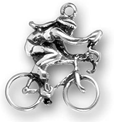 Sterling Silver Girls .8mm Box Chain 3D Female Ten Speed Competition Bicycle Bike Rider Pendant Necklace