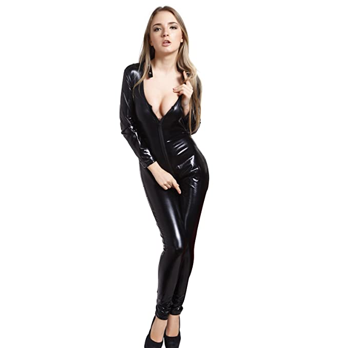 913968a487 Amazon.com  Wetlook PVC 2ways Zip Catsuit Unitard Jumpsuit Bodysuit  Clubwear Costume US4-16  Clothing