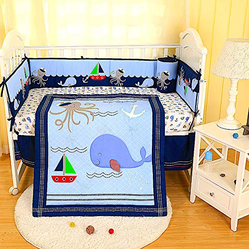 (BabyCrib Unique Cute Adorable, Whale and Octopus, Boat in Sea, Blue, 10 Piece Bedding Set, Including Crib Bumper, Diaper Stacker, and Bonus Baby Monthly Milestone Blanket for Newborn Baby Boy.)