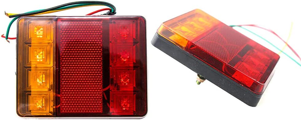 JUST N1 Trailer Light 8 LED IP65 Waterproof Tail Stop Lamp Indicator Replacement Kit Amber//Red Color