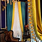2 Panels Luxury Europe Style Thick Velvet Curtains For Living Room Blue Splice Yellow Blackout Solid Bedroom Curtains (W52''H84'')