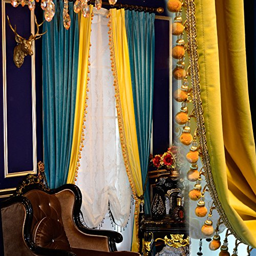 2 Panels Luxury Europe Style Thick Velvet Curtains For Living Room Blue Splice Yellow Blackout Solid Bedroom Curtains (W52''H84'') by helen curtain (Image #5)