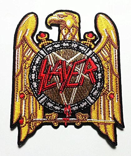 (Slayer Heavy Metal Rock Punk Music Band Logo Patch Sew Iron on Embroidered Polo T-shirt Vest Cloth)