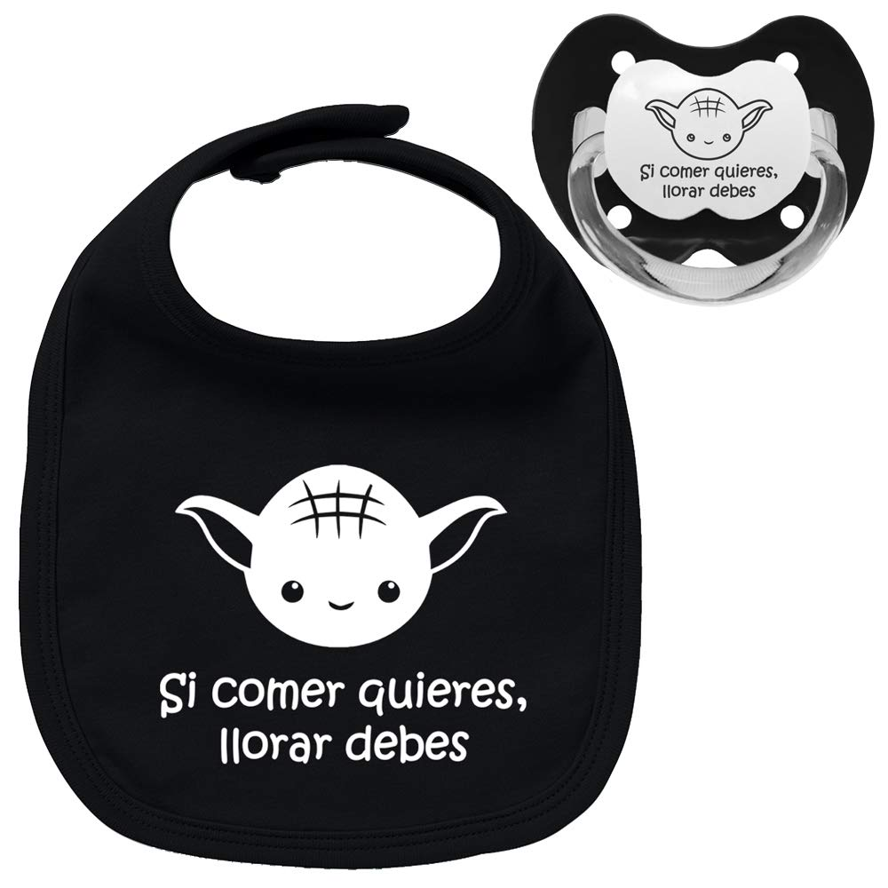 Pack chupete y babero negros Yoda frase, bebé parodia Star Wars ...