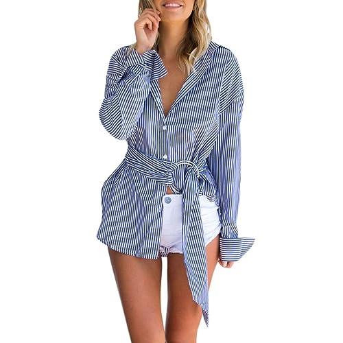 SHOBDW largo de Blusas de mujeres atractivas del V-Collar de la camiseta de manga large de la Camise...