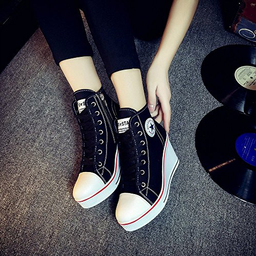 Sneaker Black Lace Fashion Top Up Shoes High Canvas Heel Casual Sneaker Padcod Wedges BnwgPqpc