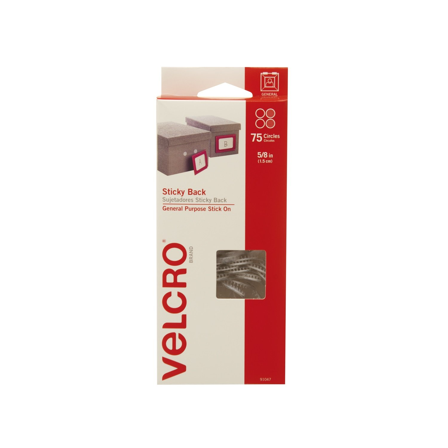 VELCRO Brand - Sticky Back Hook and Loop Fasteners | General Purpose Peel & Stick | Perfect for Home or Office | 5/8in Circles | Pack of 75 | White