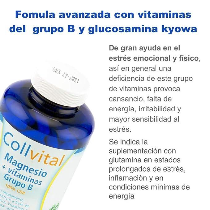 Magnesio + Vitaminas para el cansancio de grupo B + Glucosamina Kyowa 180 capsulas de 430MG (tratamiento para 3 meses). Reduce la fatiga y mejora el ...