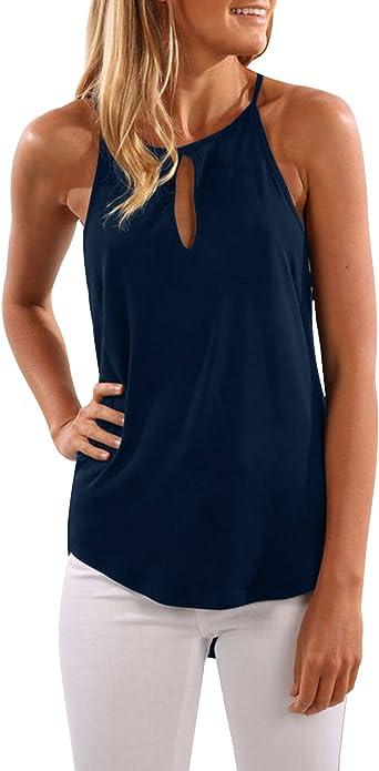 CNFIO Camisetas Tirantes Mujer Blusa Casual Top Sin Mangas Cami Tank Tops para Mujer: Amazon.es: Ropa y accesorios