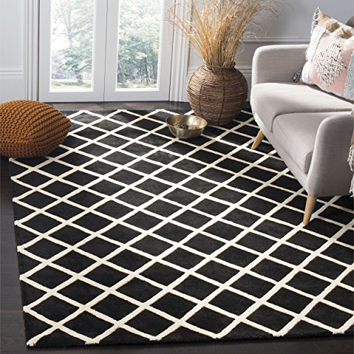 Safavieh Chatham Collection CHT718K Handmade Black and Ivory Premium Wool Square Area Rug (7' Square)
