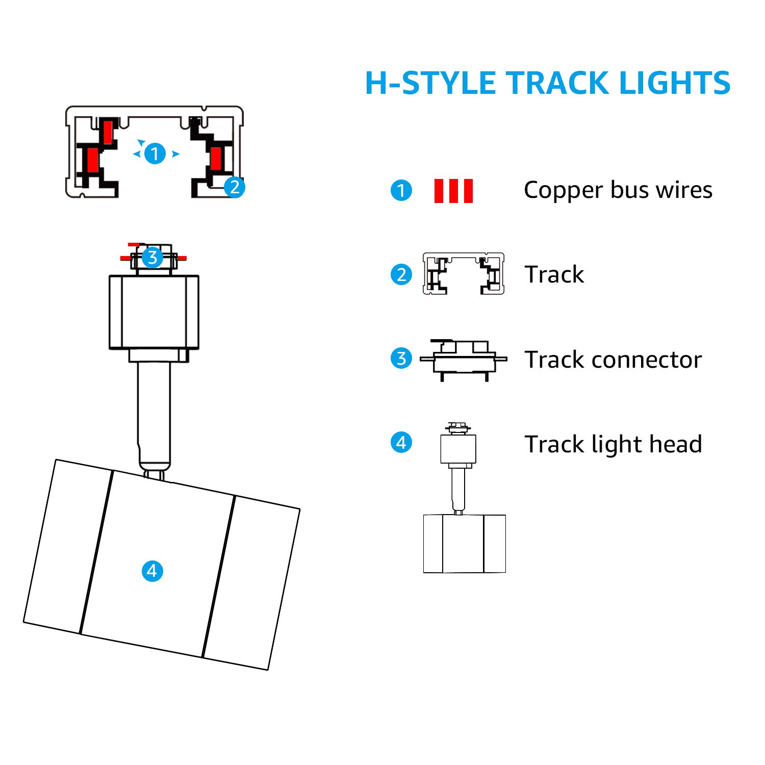 Integrated CRI90+ LED White Track Light Head 2700K Soft White LEONLITE 8.5W 500lm Energy Star /& ETL Listed for Wall Art Exhibition Lighting 50W Eqv. Dimmable 38/° Spotlight Track Light