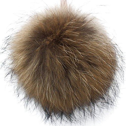 (Valpeak 6'' Fluffy Raccoon Fur Ball Pom Pom Keychain Womens Bag Purse Charms with Golden Key Chain (Bronze) )