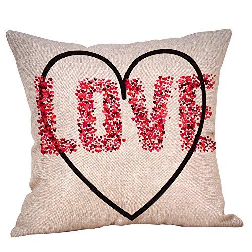 Lounger Mission (Aoesila Pillow for Lover Happy Valentine Pillow Cases Linen Sofa Cushion Cover Home Decor Pillow Case Cotton Linen 18 x 18 Inch,43cm44cm)