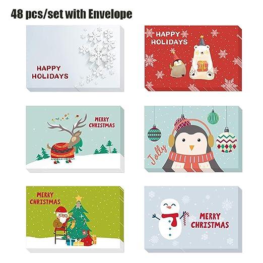 Chiic - 48 tarjetas de felicitación navideñas para invitaciones de ...