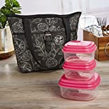 Image of Fit & Fresh Delano Insulated Lunch Bag Kit for Women, Includes Container Set and Ice Pack, Black & White Floral